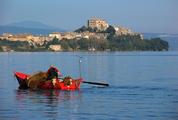 Lake Bolsena, red fishing boat