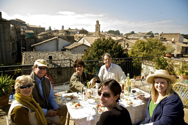 rooftop lunch in Orvieto