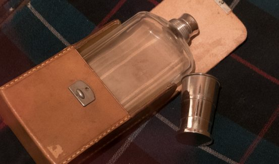 Freud's traveller's hip flask and scarf