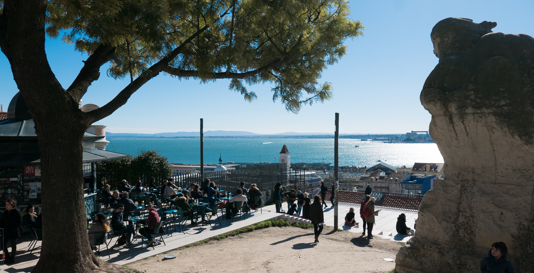 Photo workshops in Lisbon and the Algarve- Lisbon street cafe at Miradouro S.Catarina overlooking the Tagus