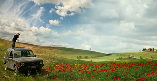 Photographer in poppies field