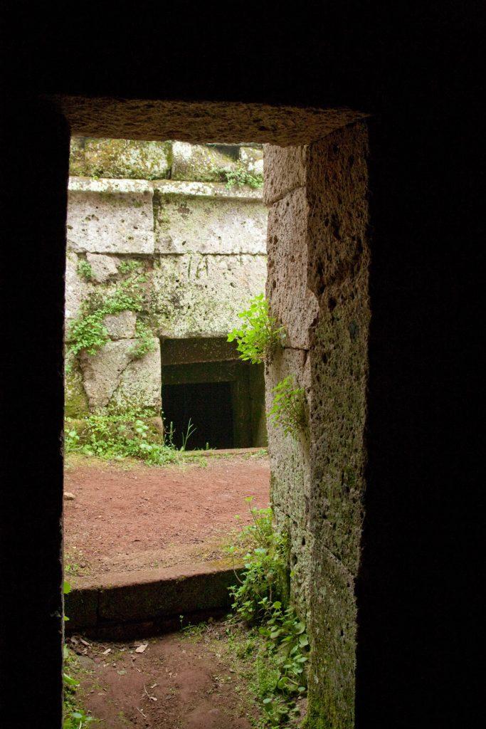 Doorway in Etruscan tomb opening onto the street