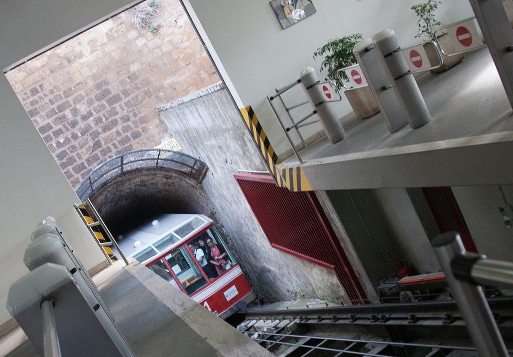 Orvieto's funicular railway passing through the tunnel