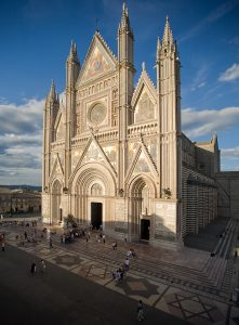 Orvieto cathedral facade and stars of David
