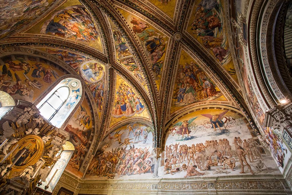 San Brizio Chapel, Orvieto Cathedral. Signorelli and Fra Angelico frescoes