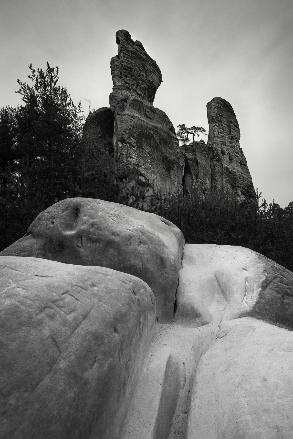 Hruba Skala monolithic rocks. Photo taken during winter photo workshop in Bohemia.